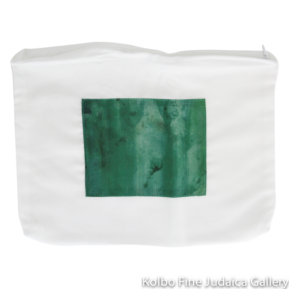 Tallit Set, Green Watercolor Stripes, Silk
