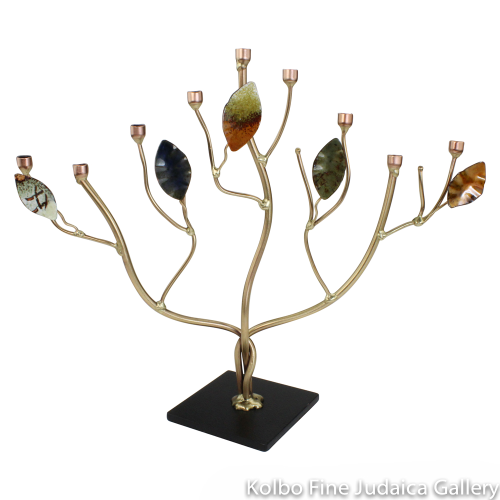 Menorah, Tree of Life with Enamel Leaves, Brass and Copper