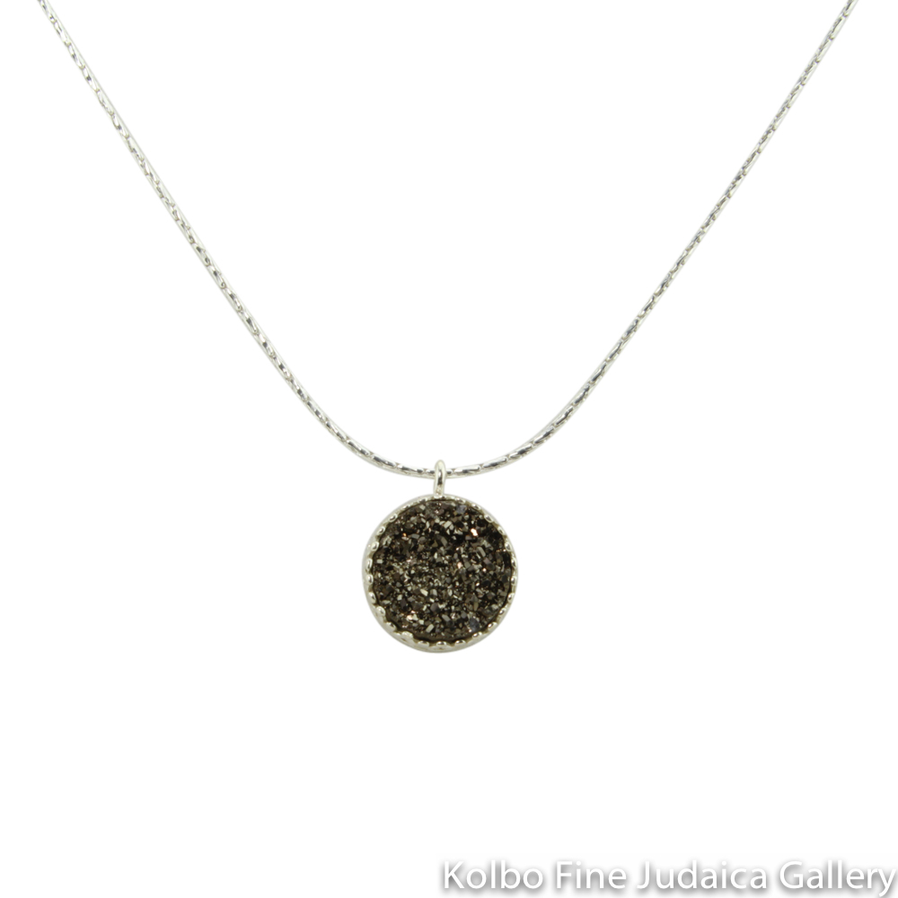 Necklace, Platinum-Colored Agate Druzy Quartz, Round Pendant on Sterling Silver Chain
