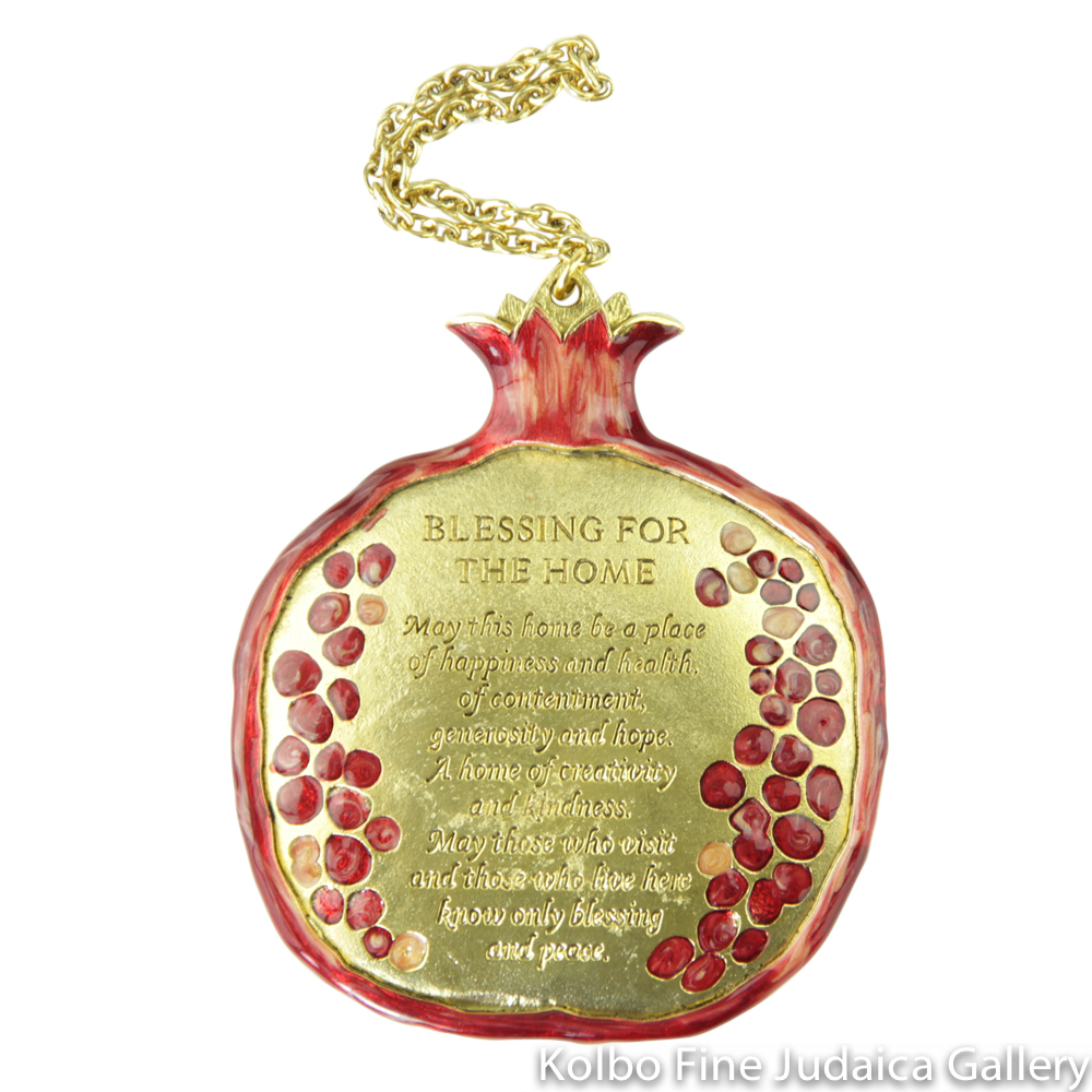 House Blessing, Red Pomegranate Design in English, Gold-Colored Pewter with Enamel