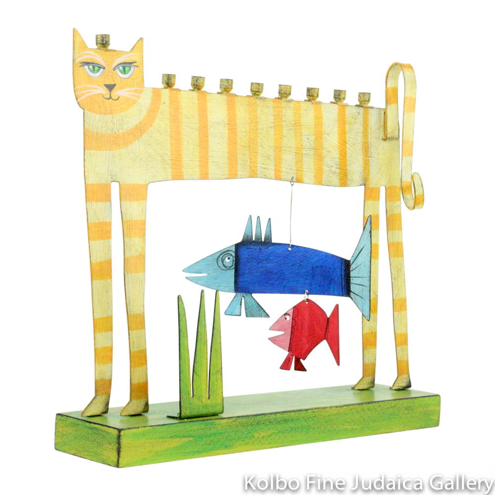 Menorah, Cat with Two Hanging Fish, Hand-Painted Metal