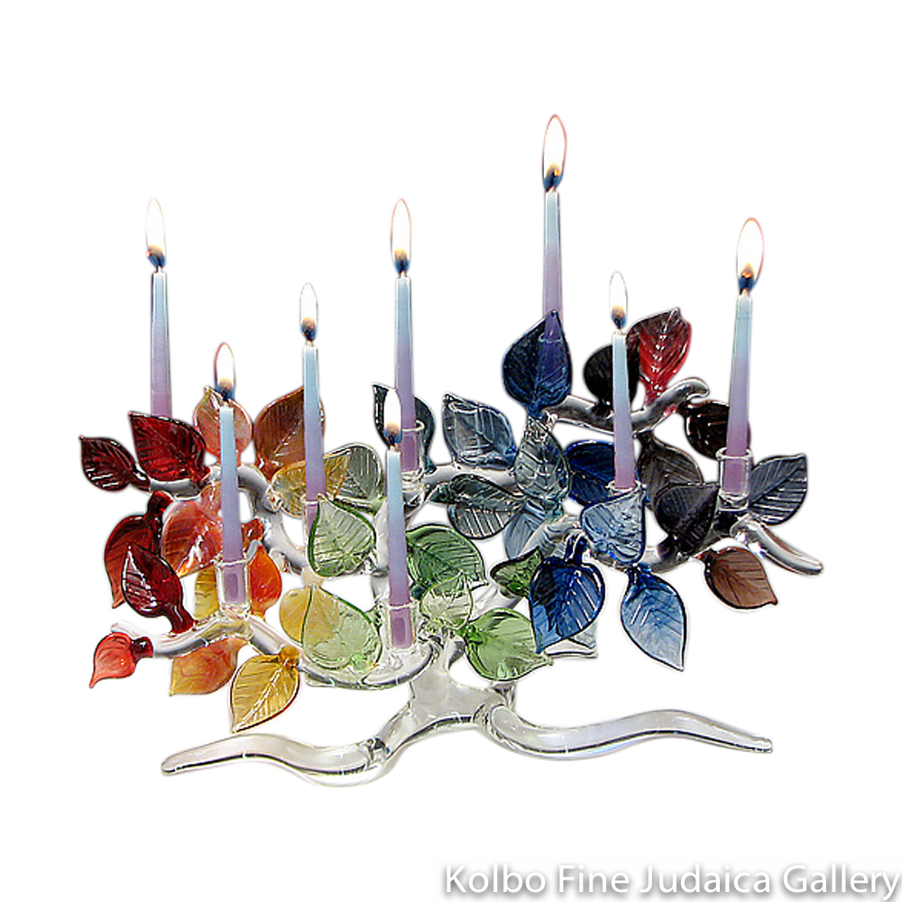 Menorah, Tree Of Life, Rainbow Colored Leaves, Clear Hand Blown Glass