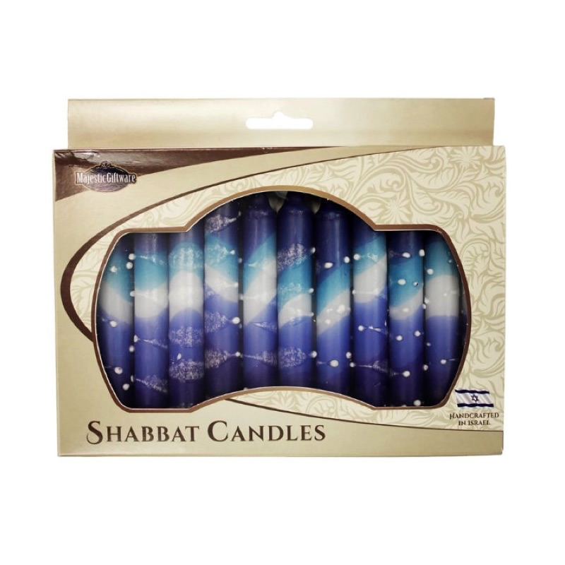Shabbat Candles, Light Blue, Dark Blue and White, Box of 12, Unscented Dripless Paraffin