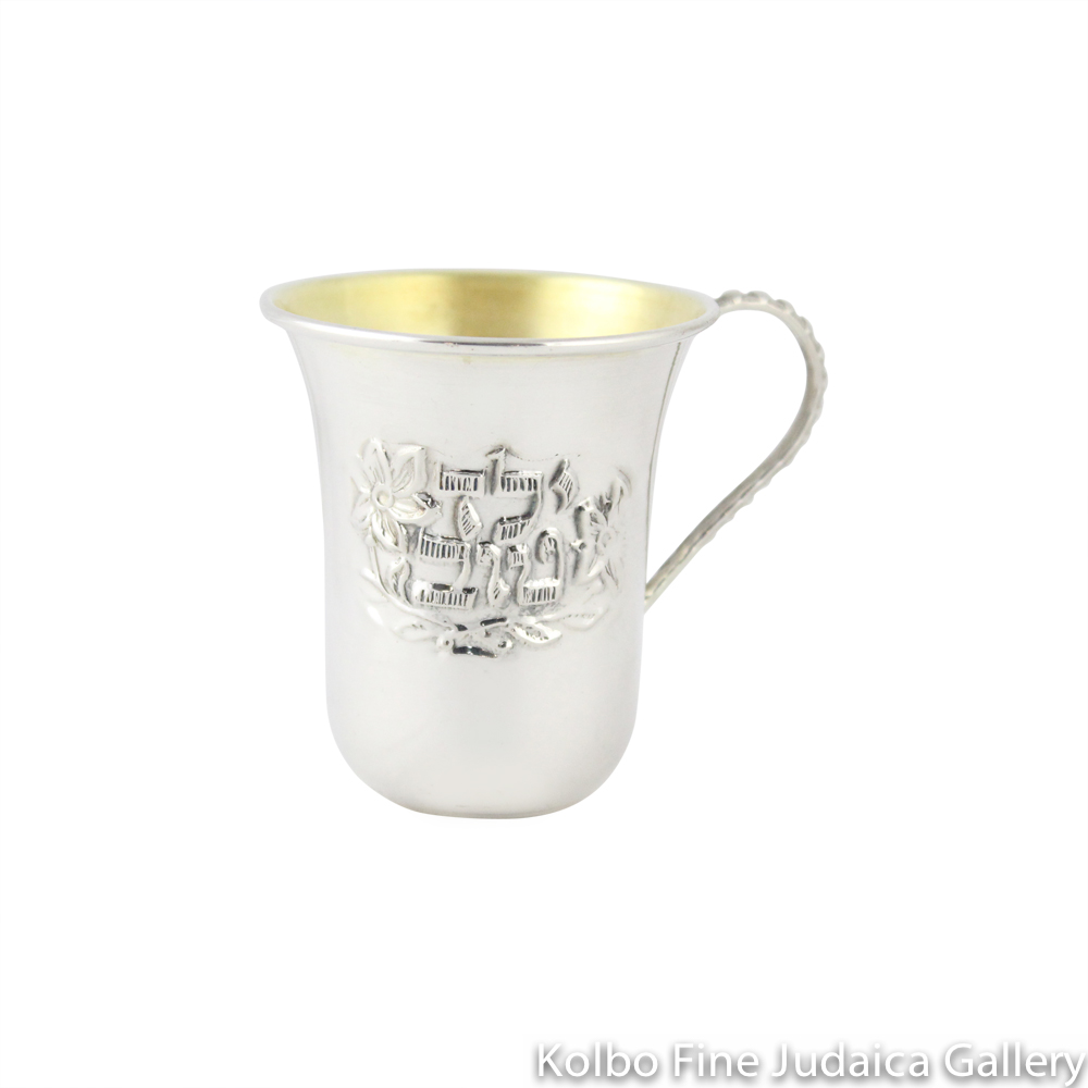 Kiddush Cup, Good Boy in Hebrew, Sterling SIlver with Handle, Stemless