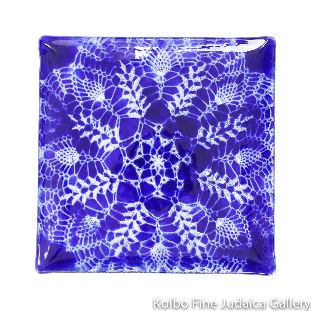 Matzah Plate, Glass, Cobalt Blue, Lace Pattern