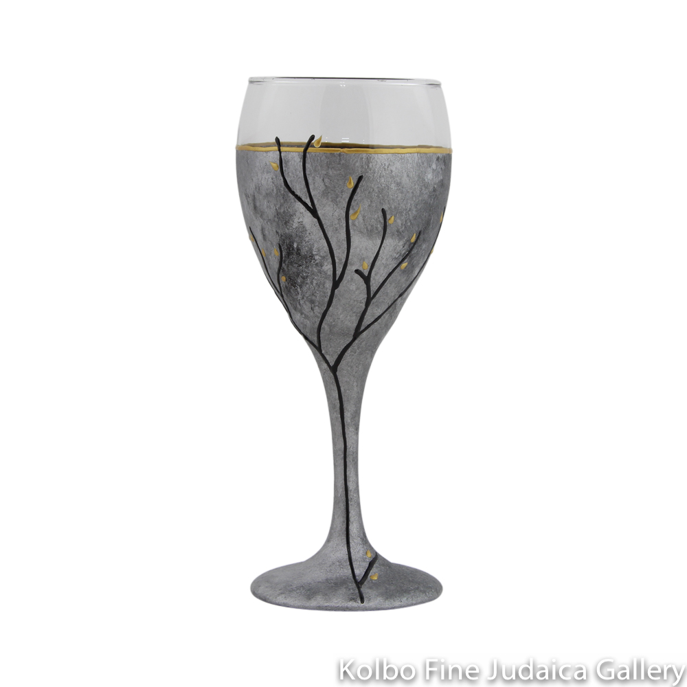 Kiddush Cup, Hand-Painted Glass with Multi-Gray Tones