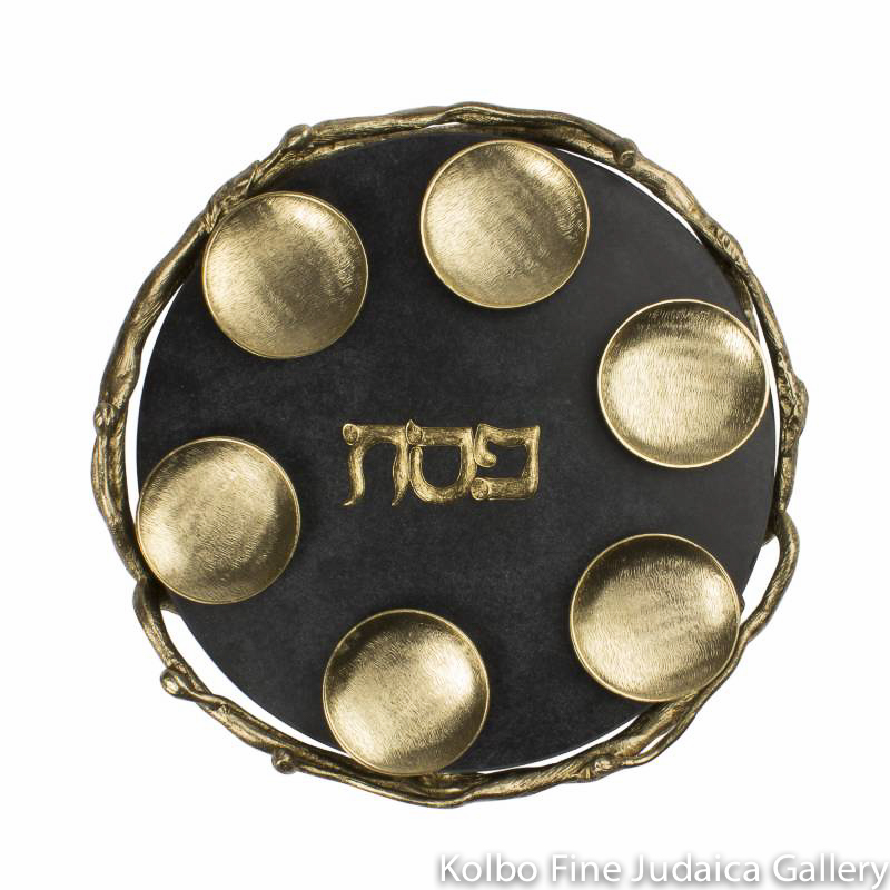 Seder Plate, Round Branch Design with Black Marble
