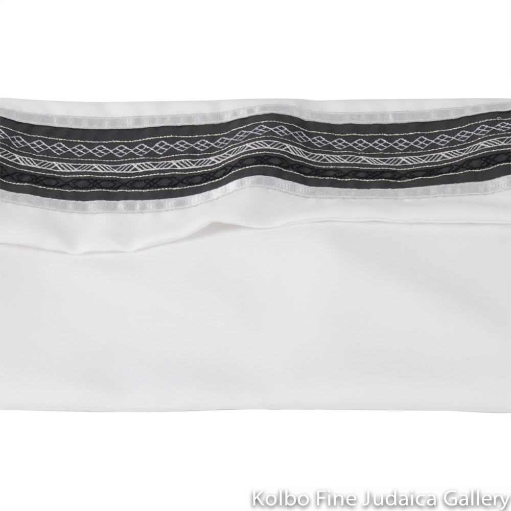 Tallit Set, Embroidered Stripe Design in Gray on White, Viscose
