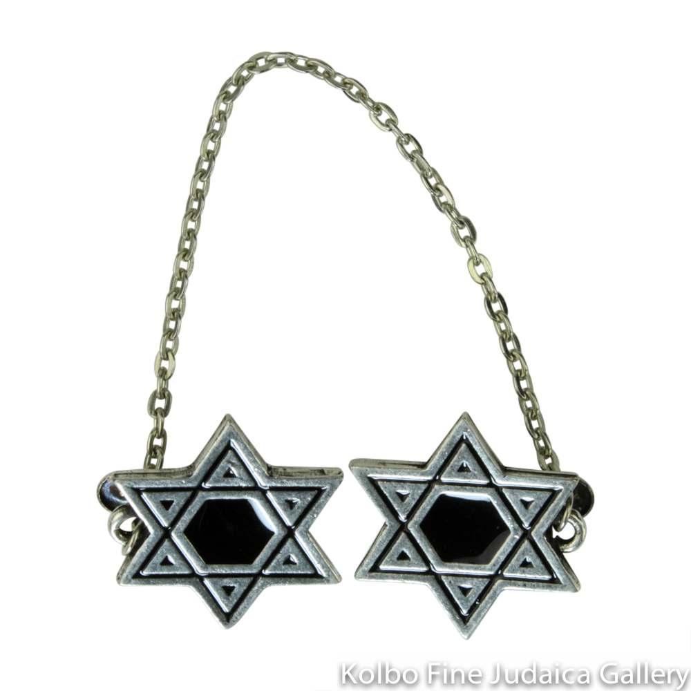 Tallit Clips, Star Design in Black, Pewter with Enamel