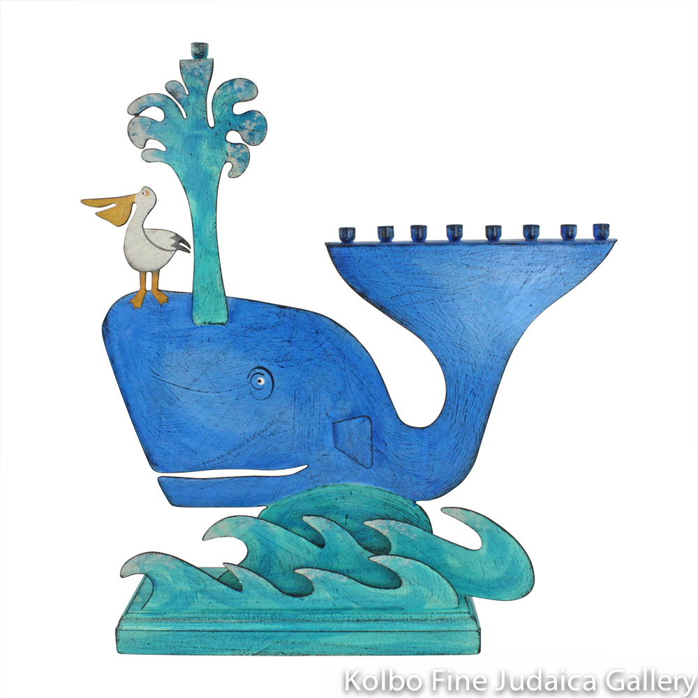 Menorah, Whale Design, Painted Metal on Wooden Base