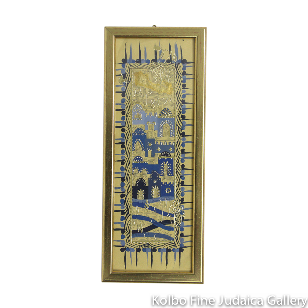 Jerusalem Skyline, Hand-Painted with Gold Detail, One Of A Kind, Rectangular, Framed