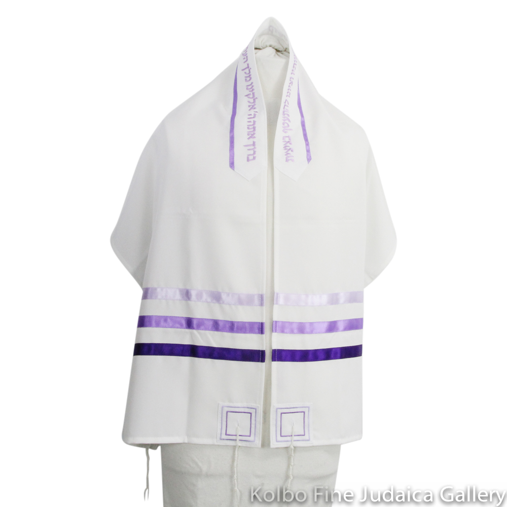 Tallit Set, Shades of Purple Design on White, Viscose