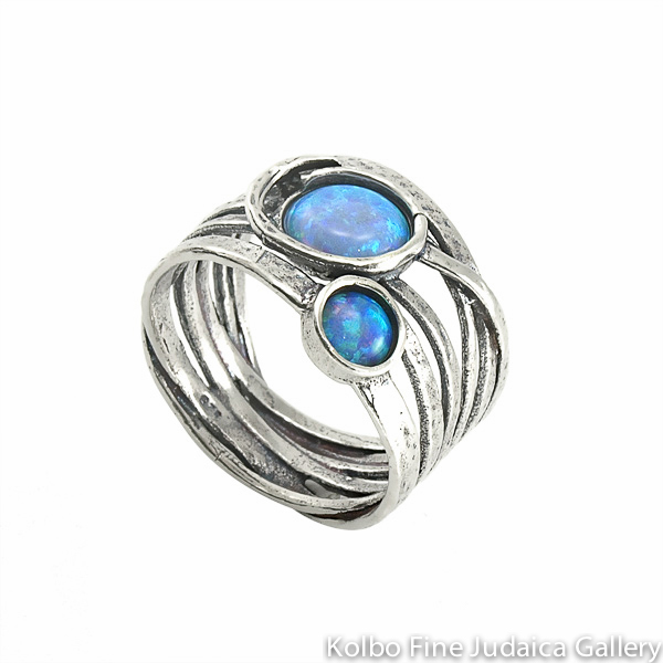 Ring, Interwoven Sterling Silver Bands with Two Round Opals