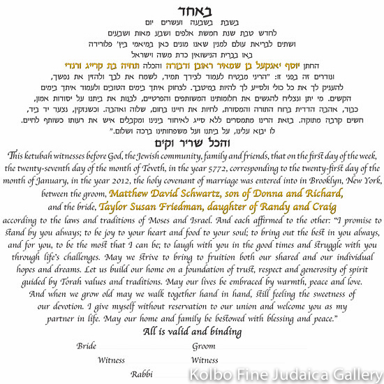 Text Only - No Artwork Ketubah