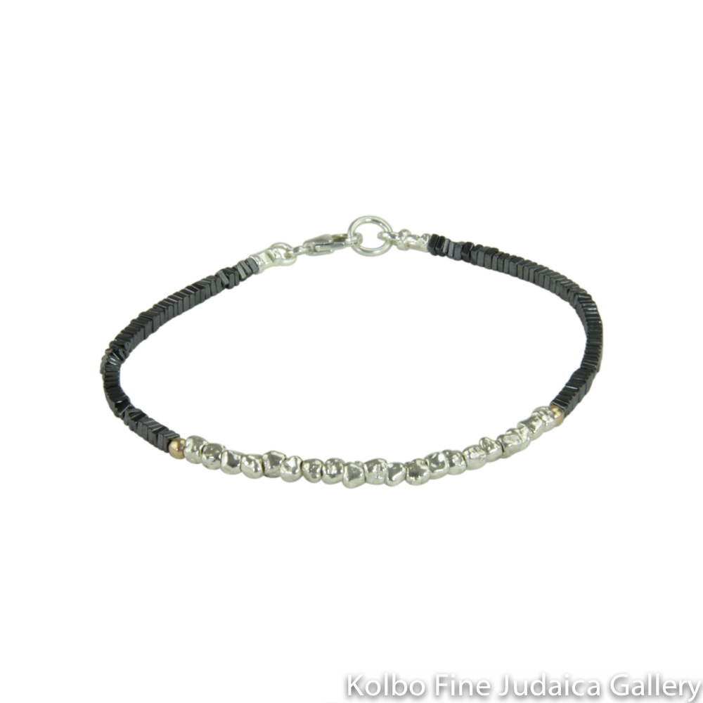 Bracelet, Small Gold Filled and Sterling Silver Nuggets with Squared Off Hematite Beads
