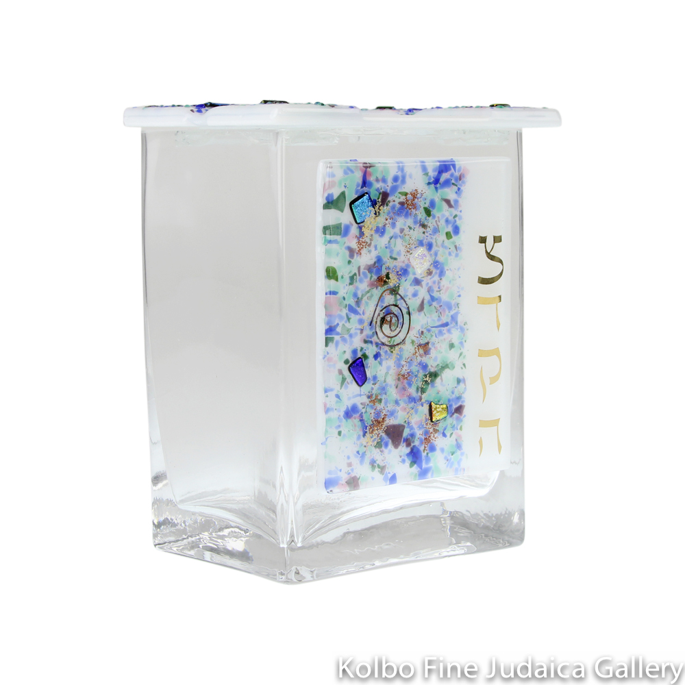 Tzedakah Box, Celestial Design, Fused Glass