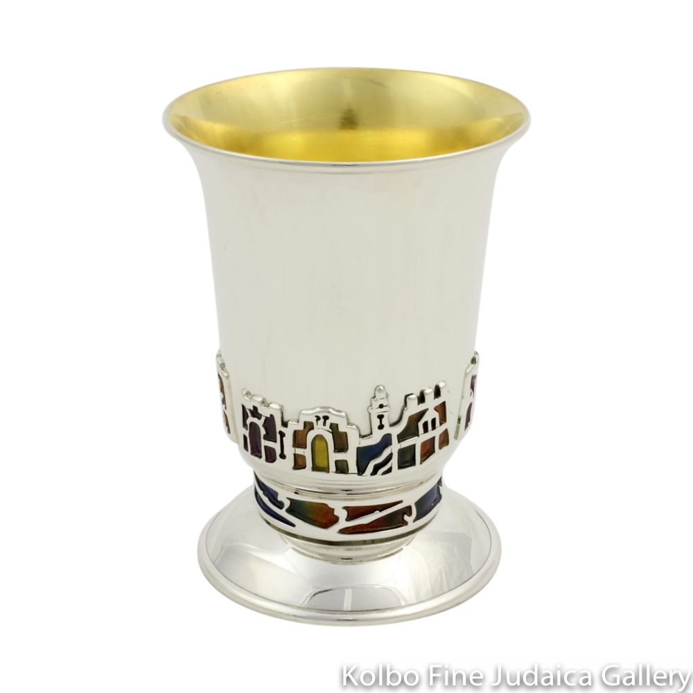 Kiddush Cup, Stemless Jerusalem Design, Sterling Silver and Enamel
