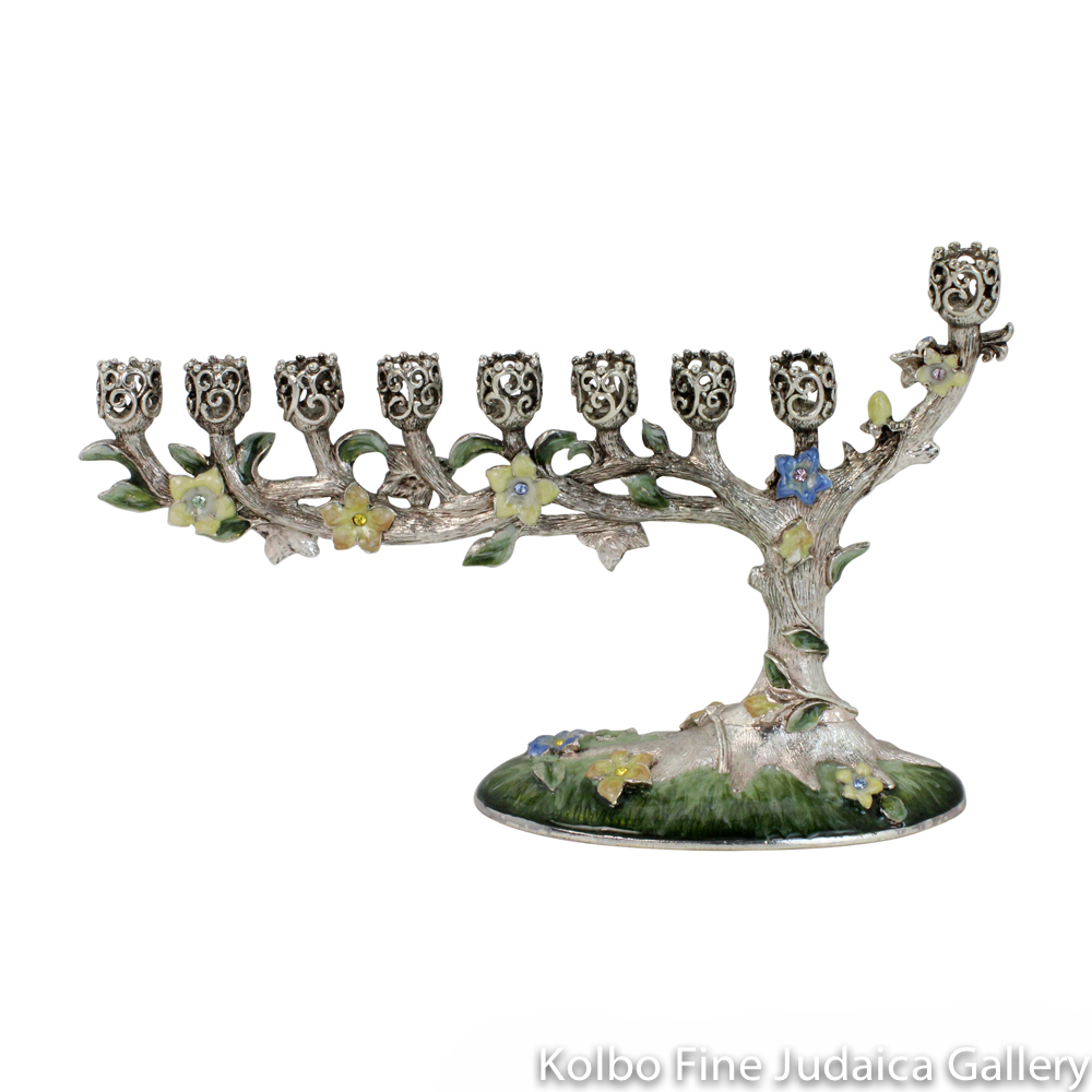 Menorah, Blossoming Tree Design in Pastels, Pewter with Enamel and Swarovski Crystals