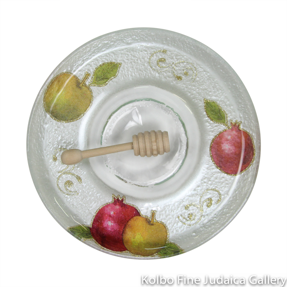 Honey and Apple Set, Glass with Colorful Apple and Pomegranate Design, One Piece, Made in Israel