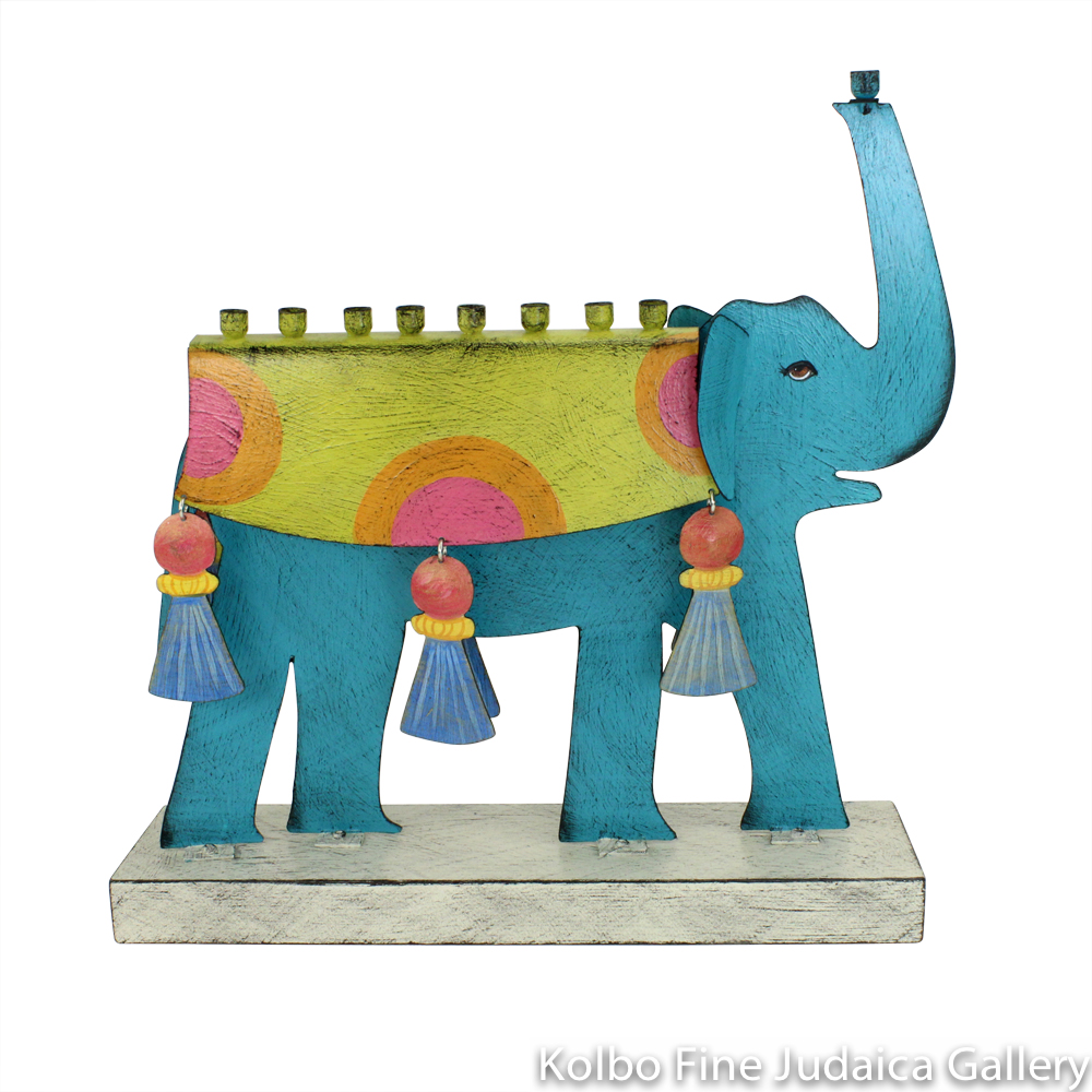 Menorah, Elephant, Hand-Painted Metal