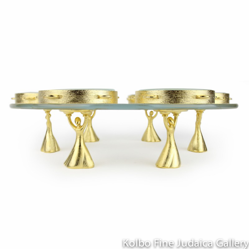 Seder Plate, Joyous Song Design with Six Dancers, Gold-Toned Pewter and Glass