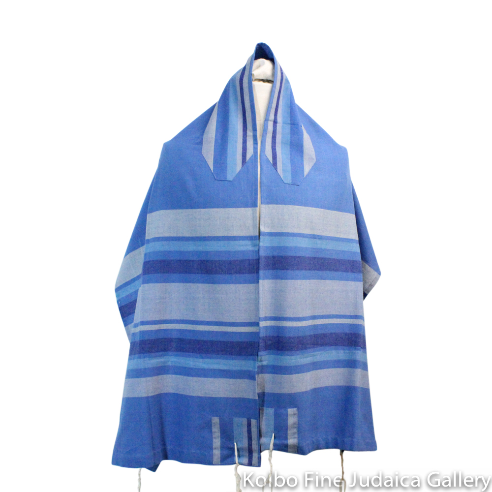 Tallit Set, Royal Blue with Multi-Blue Stripes, Hand-Spun Cotton and Silk, with Bag, Ethically and Sustainably Made