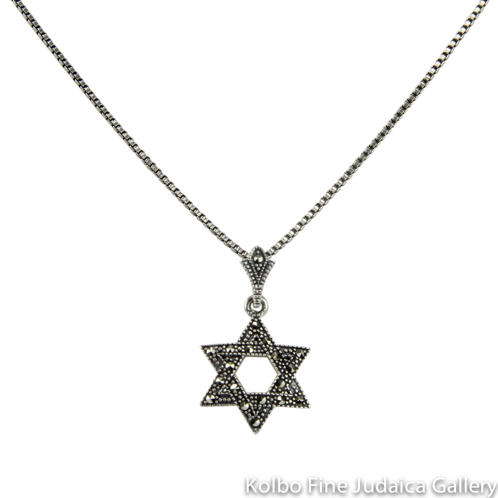 "Necklace, Star with Marcasite, Sterling Silver, 18"" Chain"