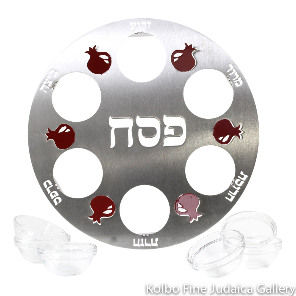 Seder Plate, Cut Out Raised Red Pomegranate Design, Stainless Steel