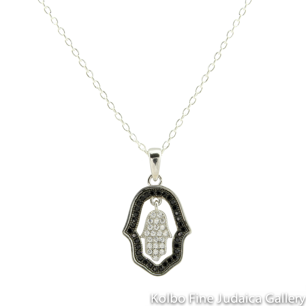 Necklace, Dangling Hamsa Design, Clear and Black Cubic Zirconia