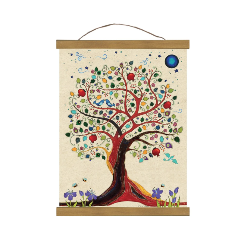 Tree Of Life, Wall Hanging, Giclee Print, Includes Magnetic Wooden Art Hangers