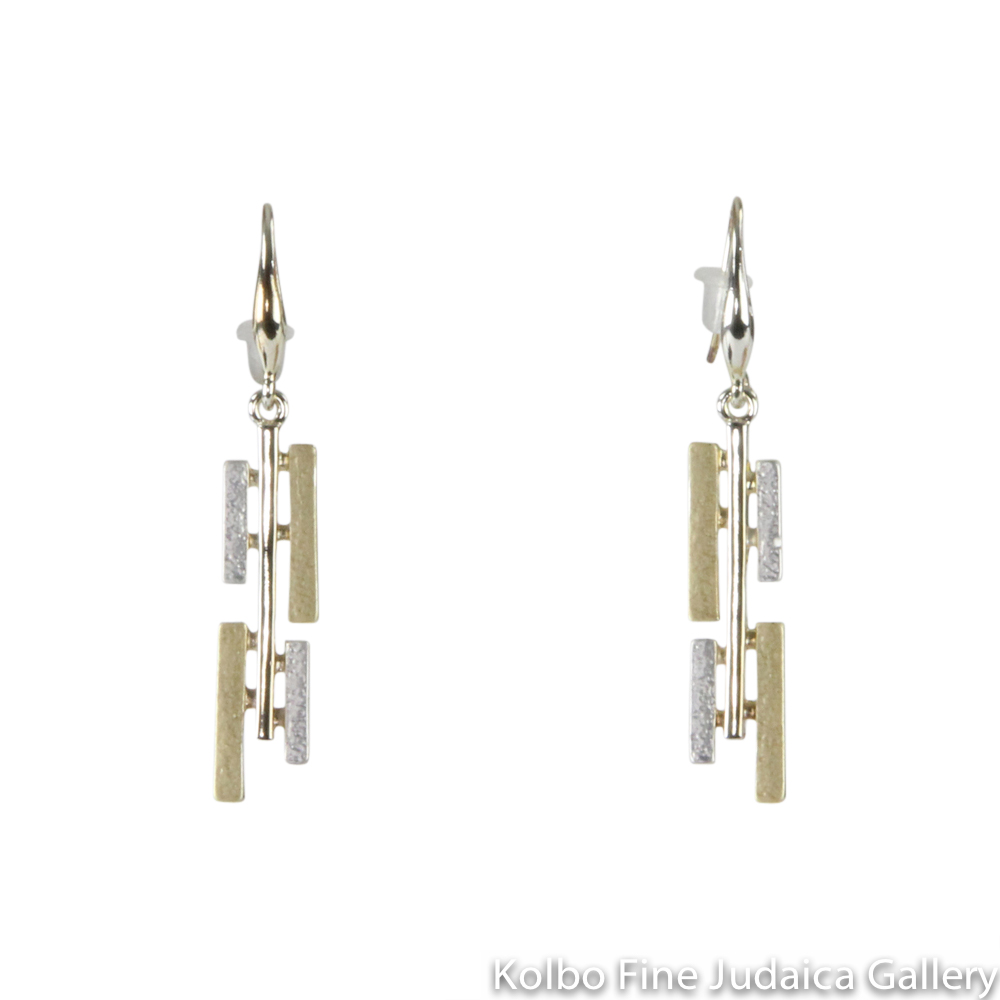 Earrings, Slim Angular Design, Sterling Silver and Gold Plated, on Wire