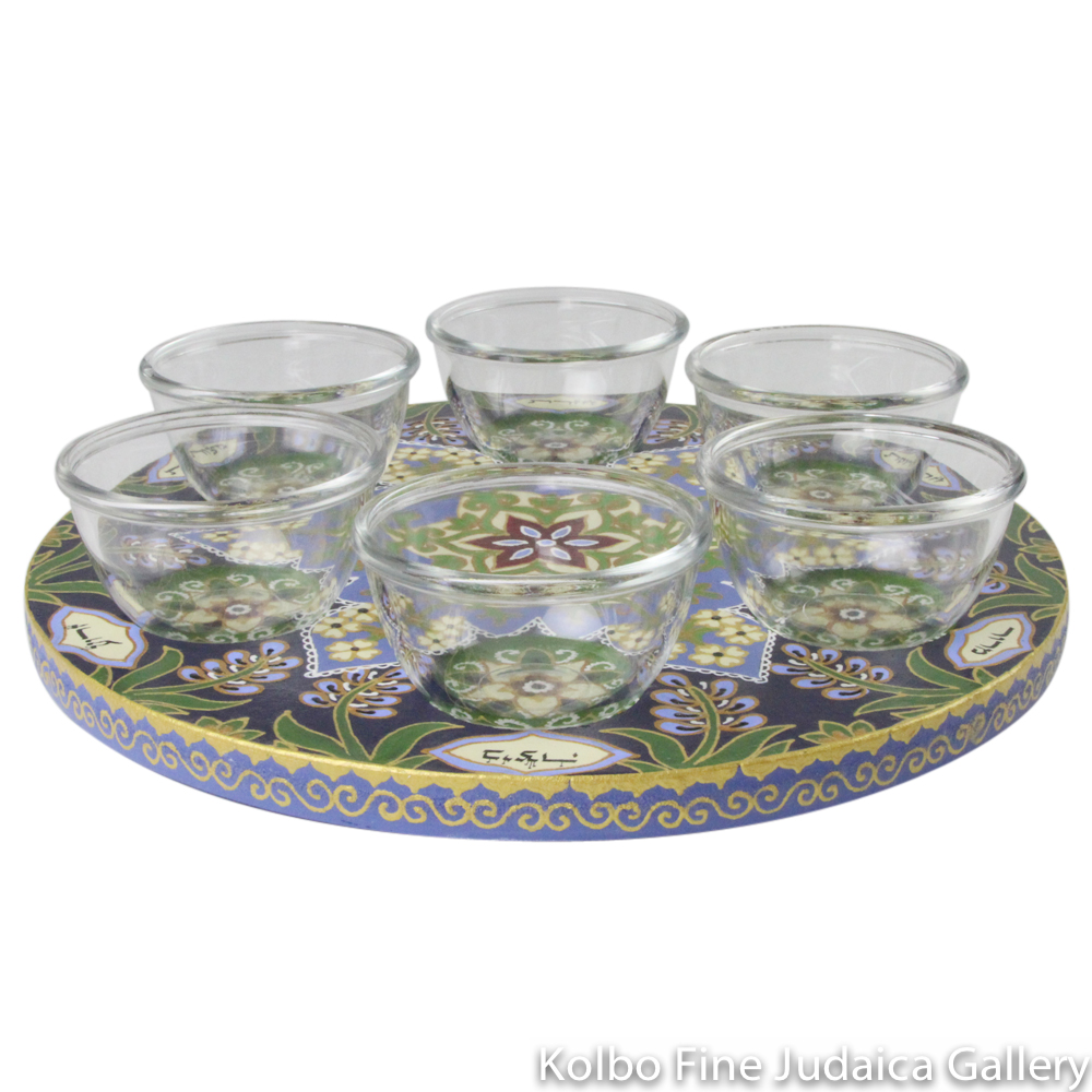 Seder Plate, Hand-Painted Wood with Glass Bowls, Floral Design in Lavender, Green, Gold, and Black, Round