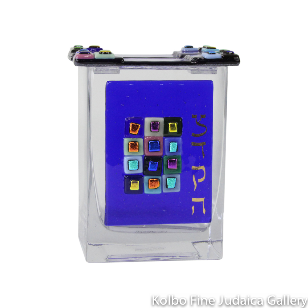 Tzedakah Box, 12 Tribes Design, Cobalt Blue, Fused Glass