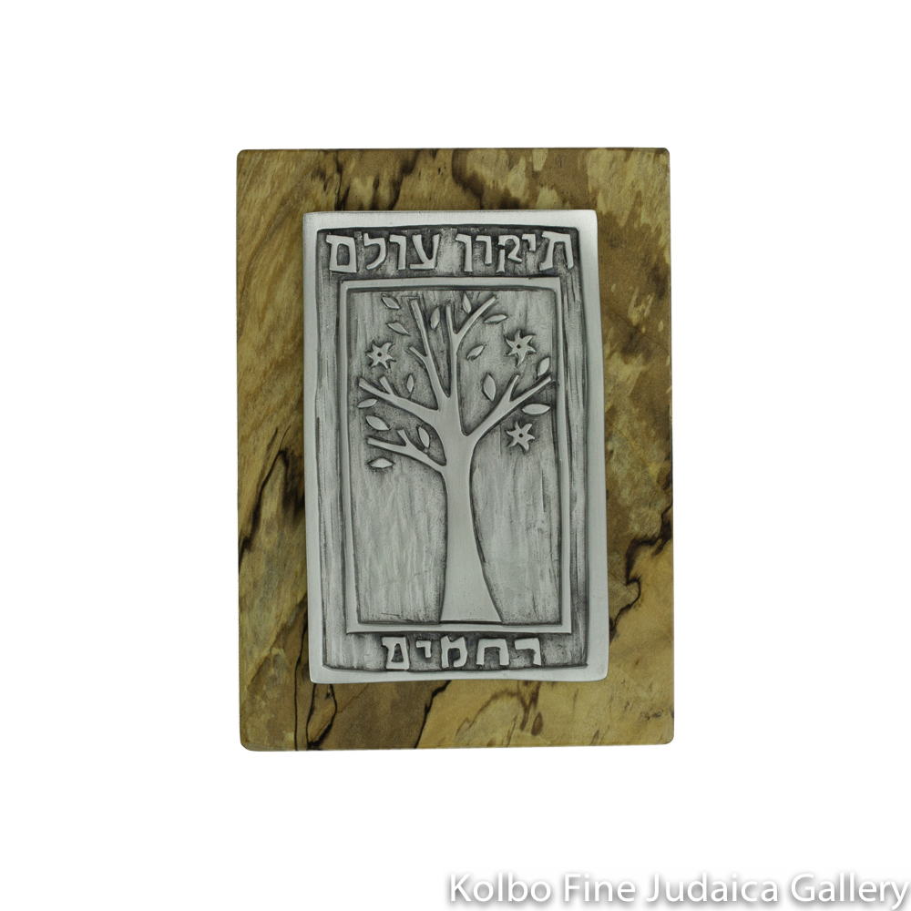 Tree of Life for the Wall, Tikkun Olam Design, Pewter on Spalted Maple