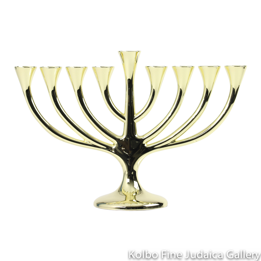 Menorah, Traditional Design with Curved Branches, Gold Plate over Brass