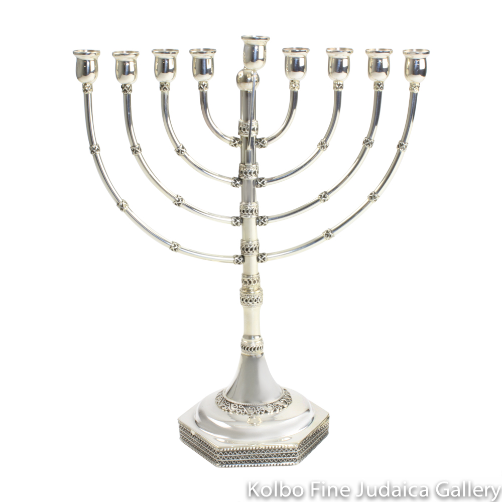 Menorah, Sterling Silver, Medium Size with Filigree, Hexagonal Base