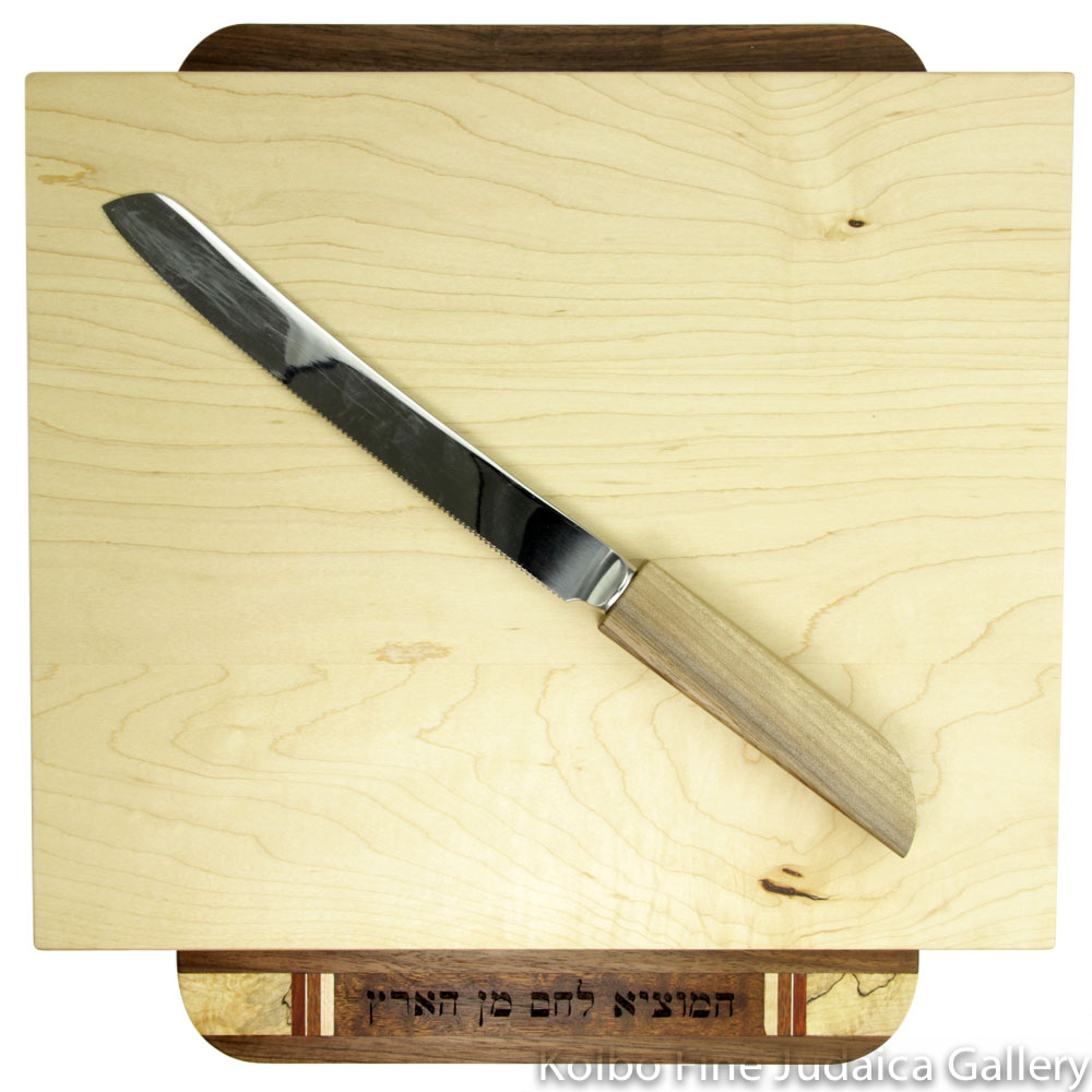 Challah Board with Knife, Raised Hamotzi, Mixed Woods