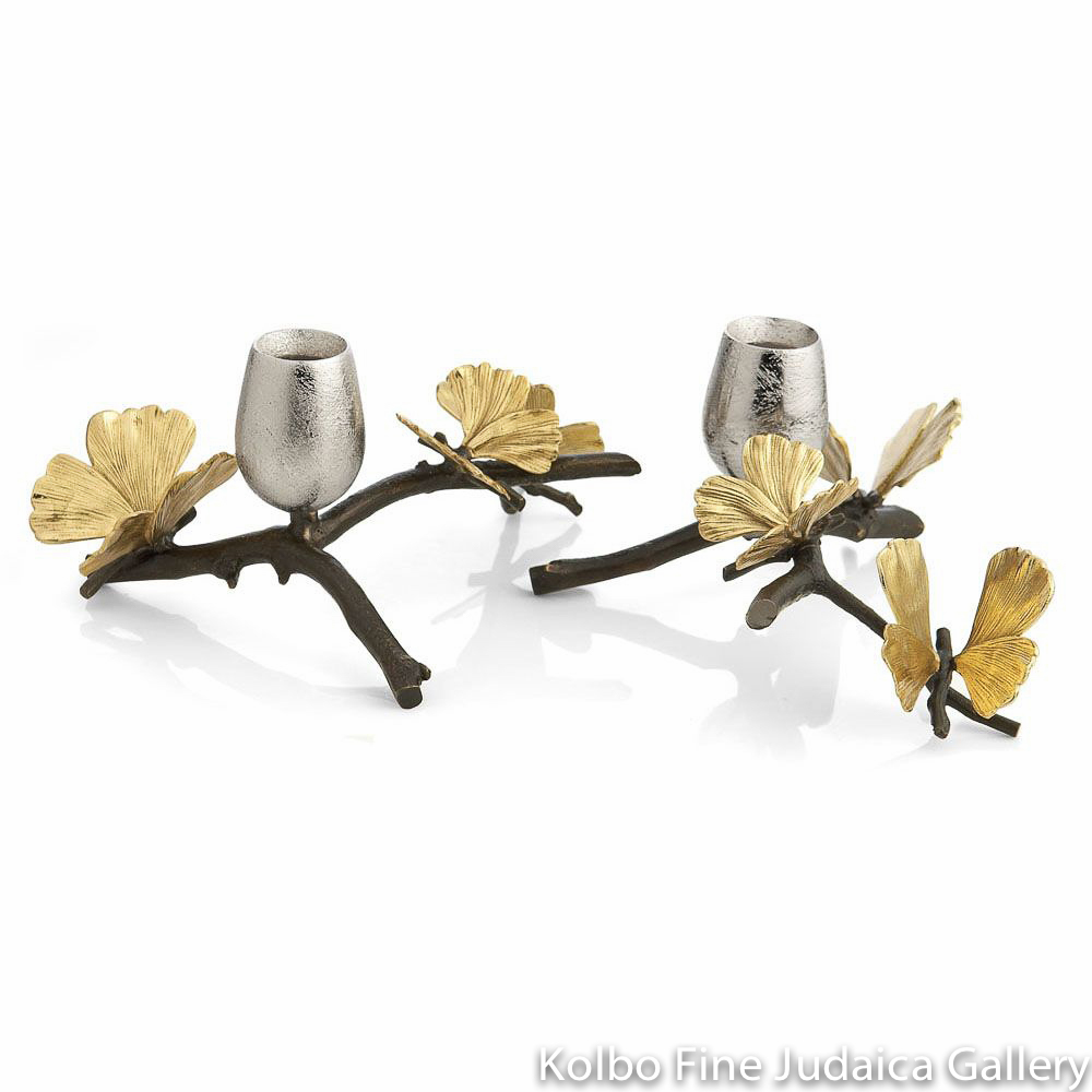 Candlesticks, Butterfly Ginkgo Design, Natural and Oxidized Brass, Nickel Plate
