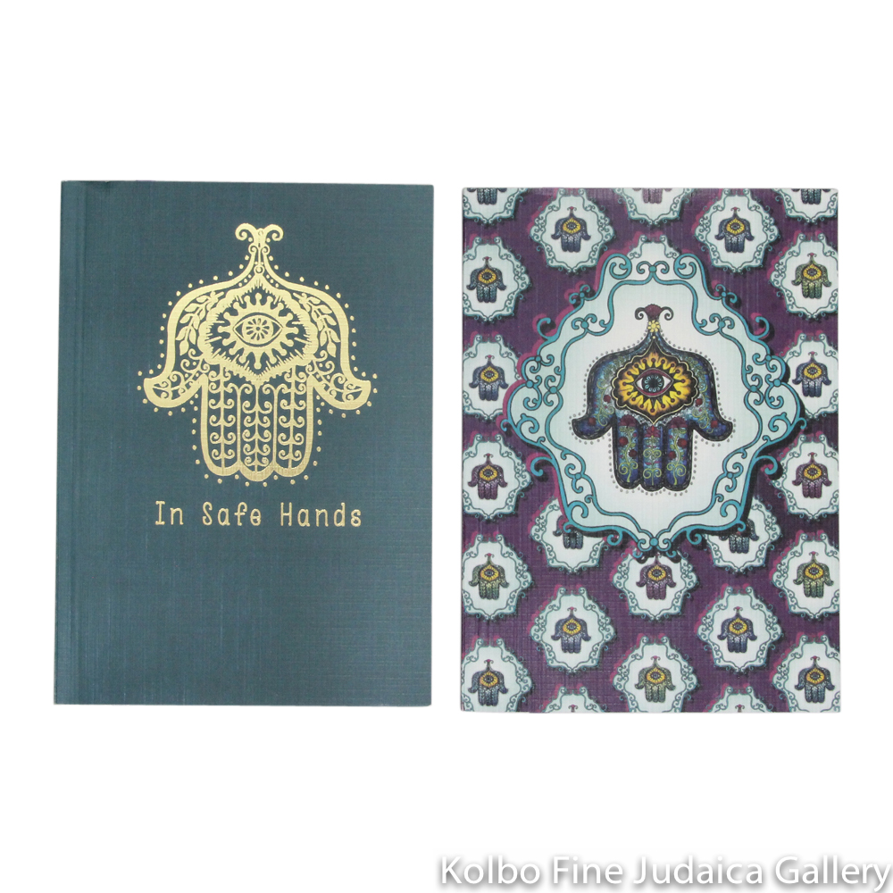 Notebook Set, In Safe Hands Design, Full Color Cover and Gold Foil Set of Two, Lined Paper