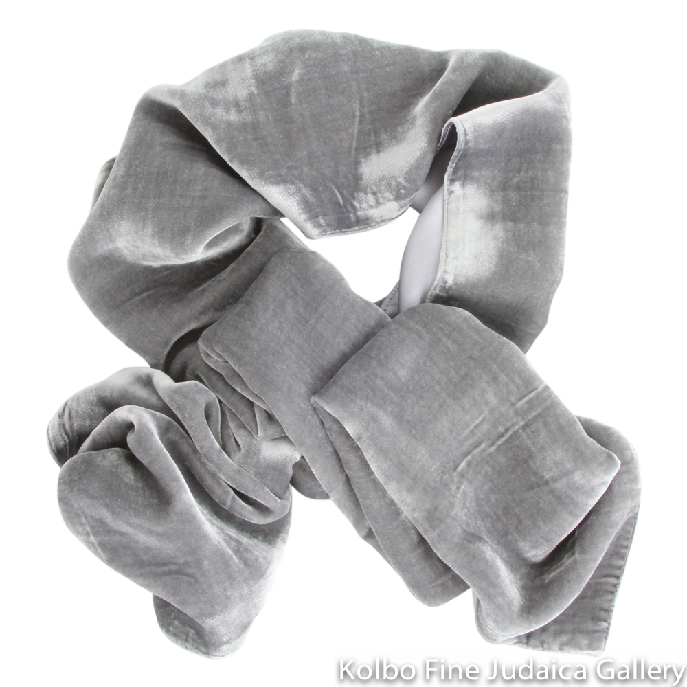 Scarf, Gray Two-Tone Design, Velvet and Silk, Hand-Made