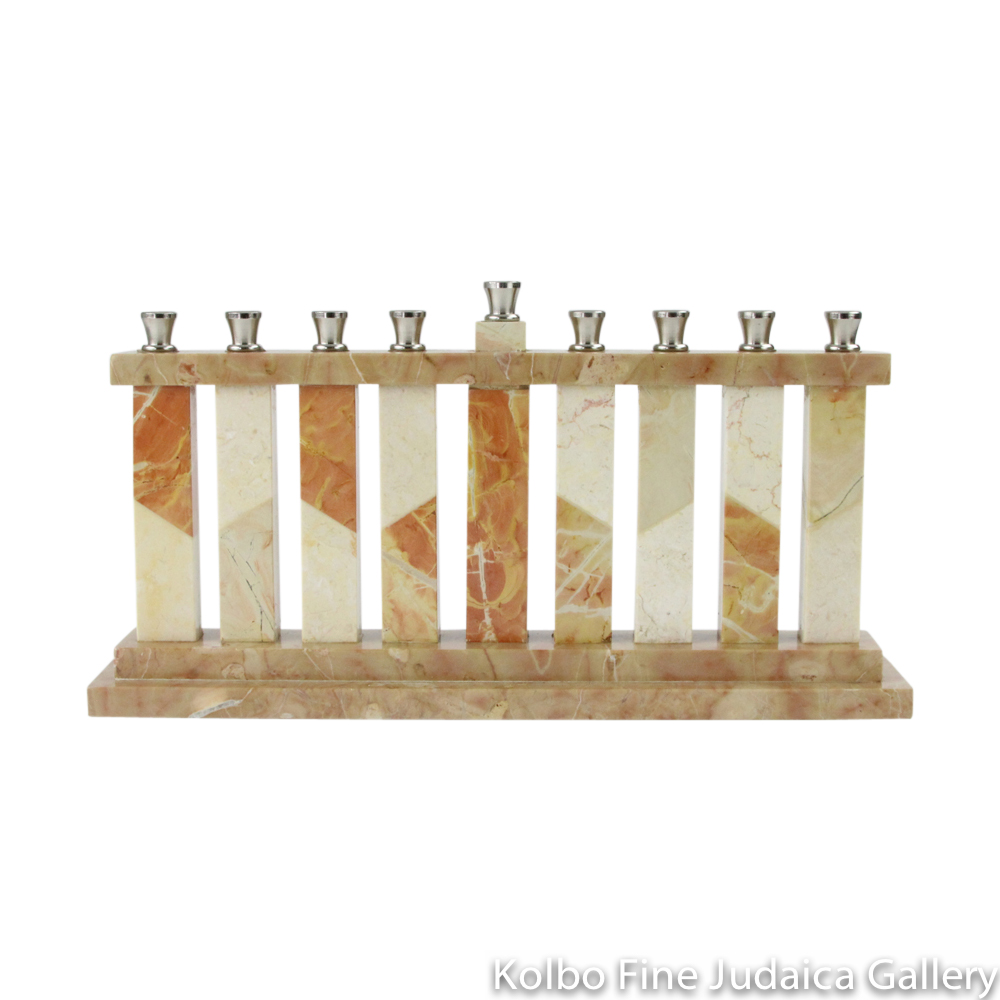 Menorah, Jerusalem Stone, Rectangular with Columns