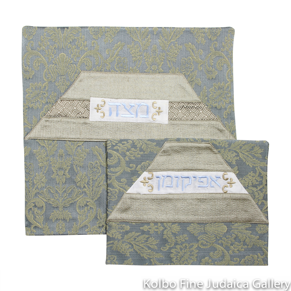 Matzah and Afikomen Cover Set, One-of-a-Kind, Steel Blue and Khaki Brocade