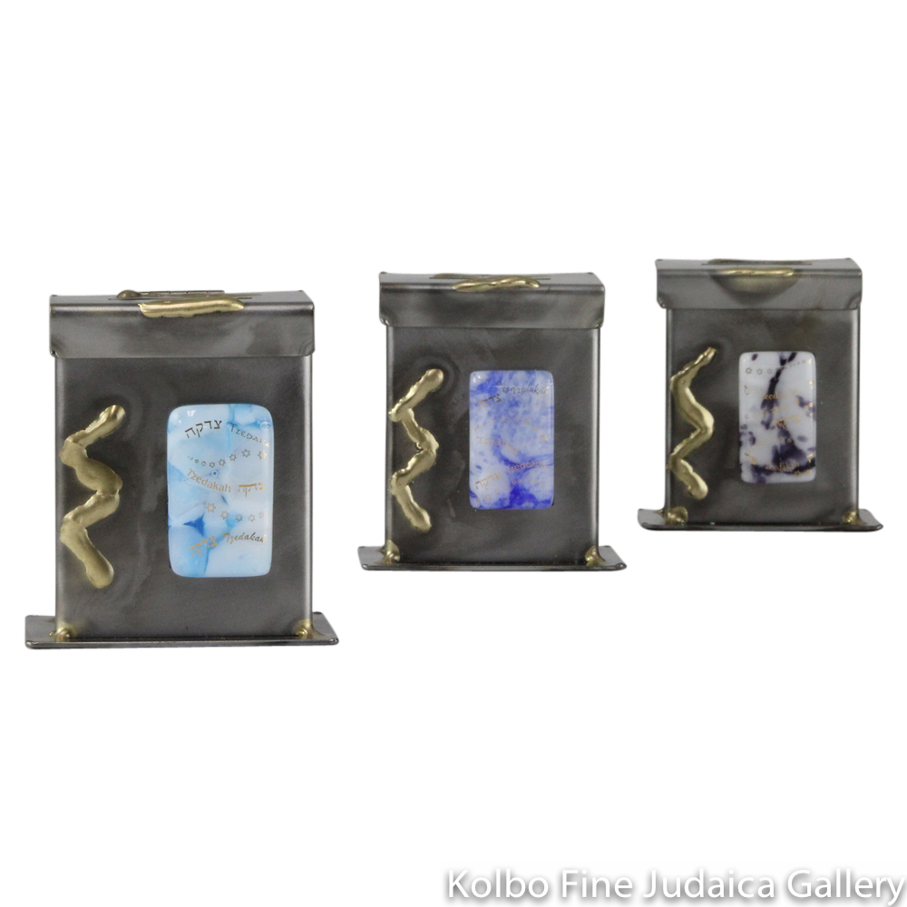 Tzedakah Box, Small Standard Design, Mixed Metals and Fused Glass