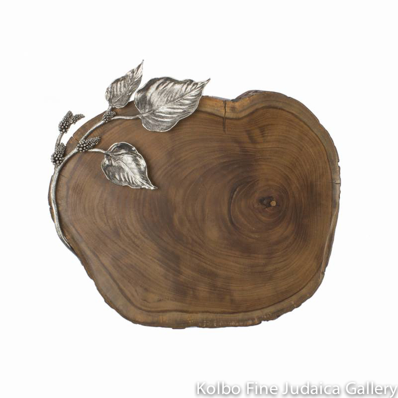 Challah Board, Mulberry Design, Wood with Silver-Plated Sculpted Leaves