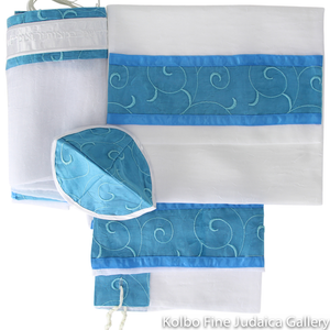 Tallit Set, Spiral Teal Design on White Chiffon