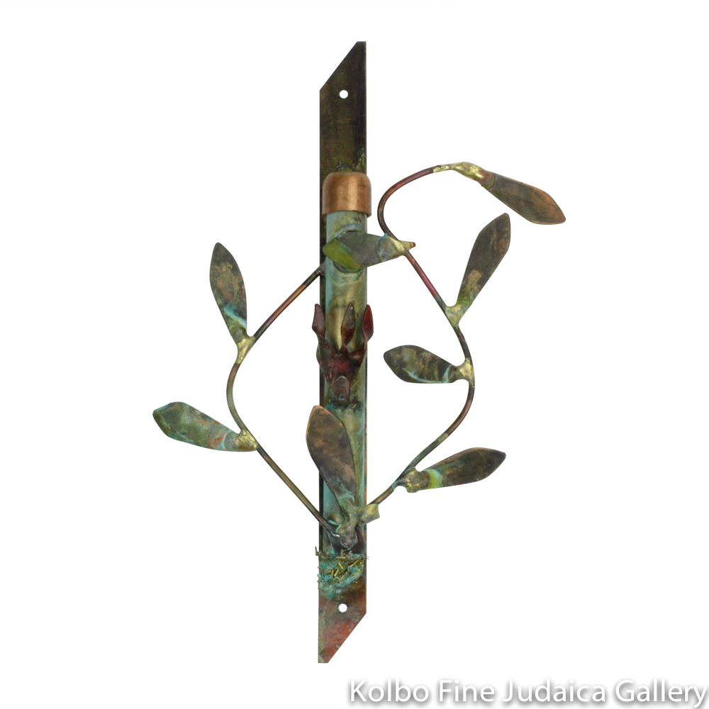 Mezuzah, Vine Design, Copper with Green Patina