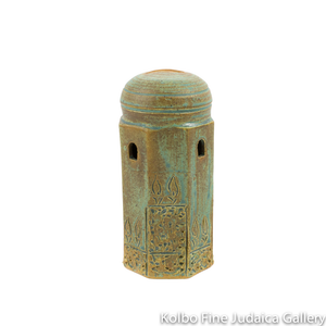 Tzedakah Box, Medium Dome Design, Ceramic with Patina Glaze