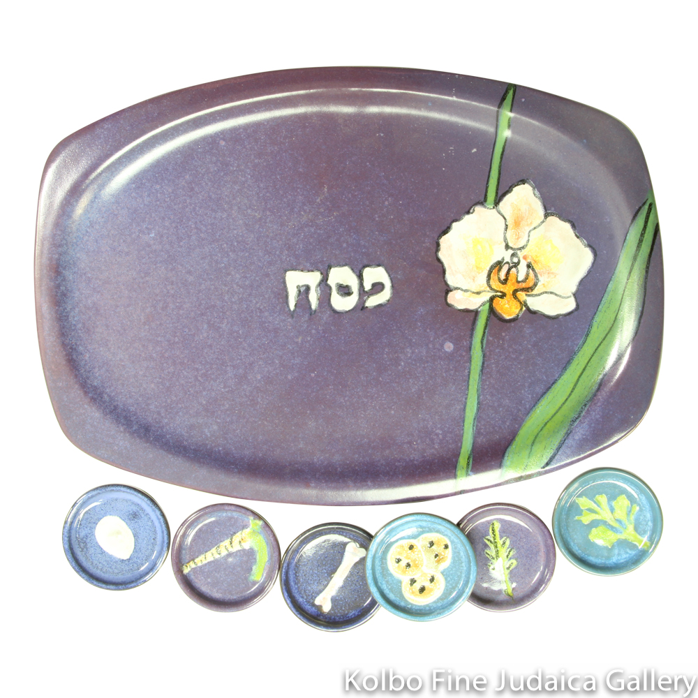 Seder Plate, Purple Floral Design, Hand-Painted Ceramic