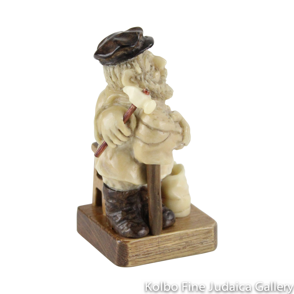 Collectable, Shoemaker in Shtetl Scene, Hand-Carved from Tagua Nut and Wood