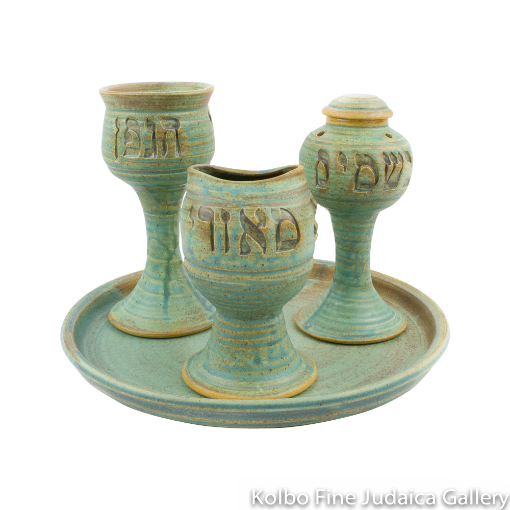 Havdalah Set, Classic Style in Ceramic with Patina Glaze
